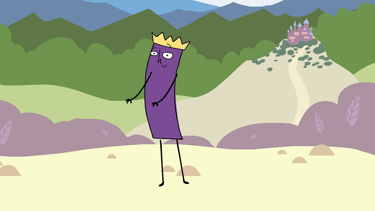 A purple character wearing a gold crown