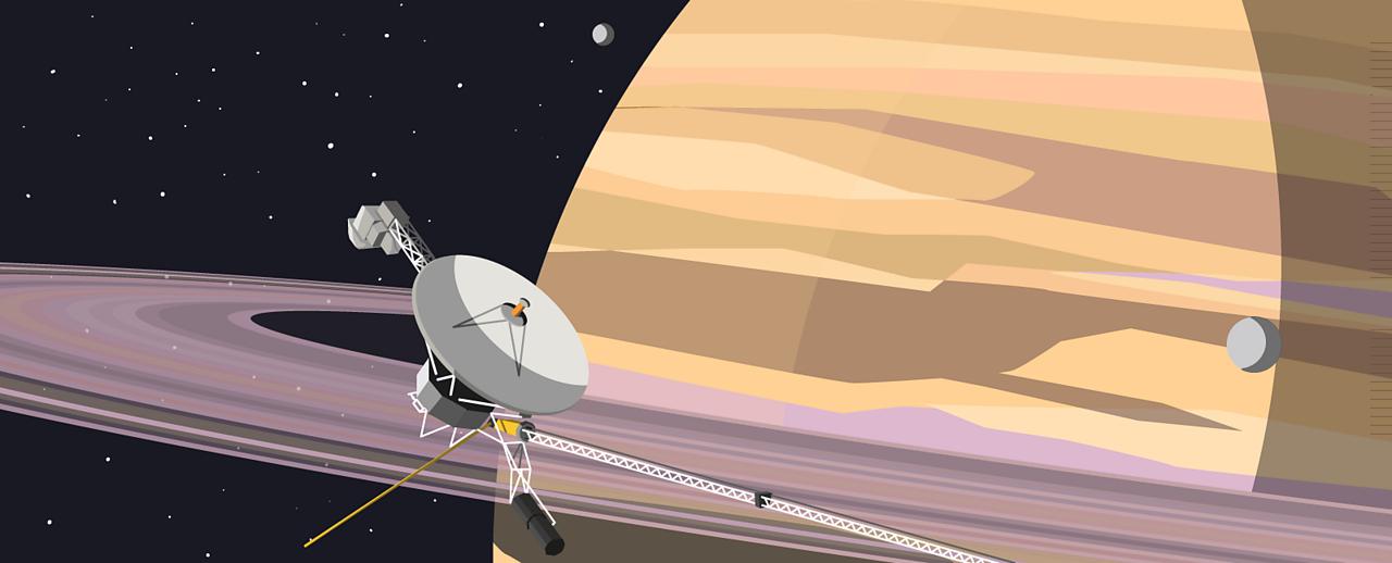 A space probe orbiting Jupiter