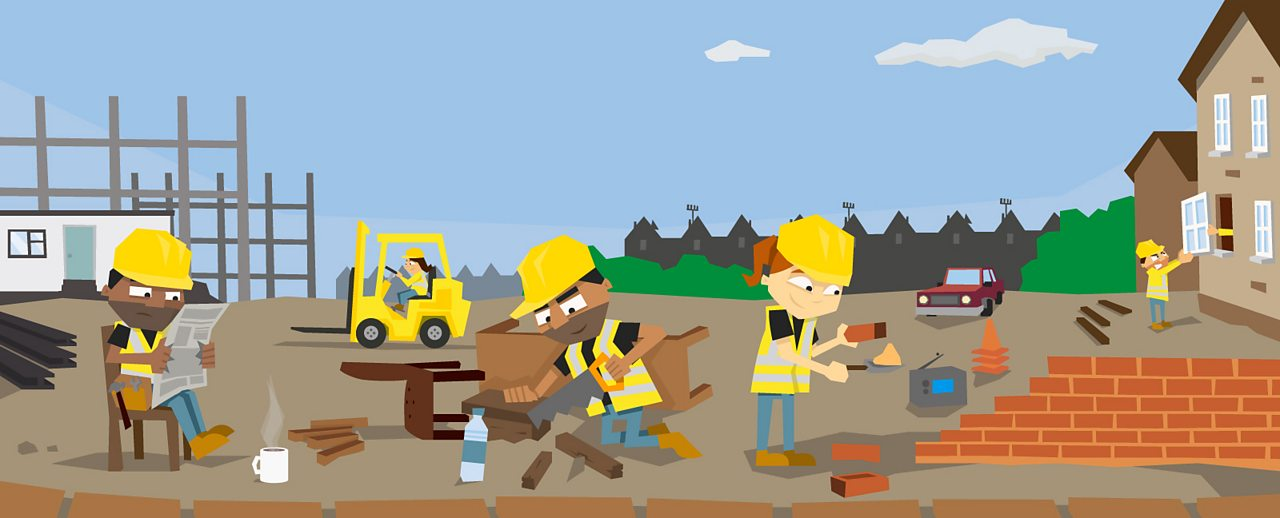 A group of builders doing construction work on a building site