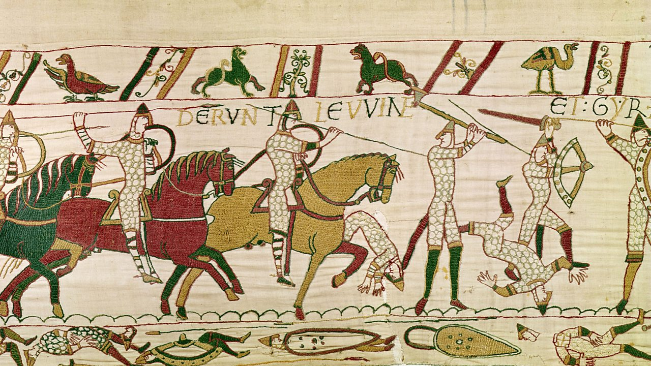 Mounted Norman soldiers are depicted killing Anglo-Saxon troops