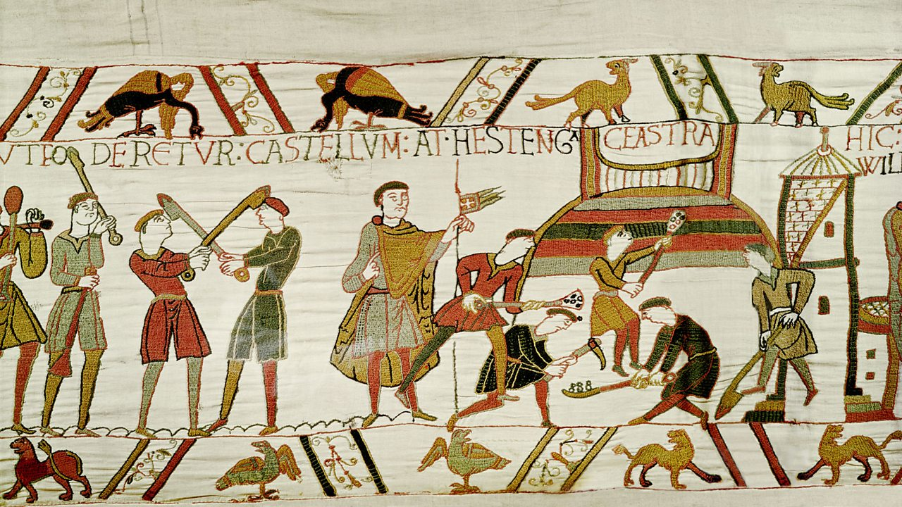 Norman troops erecting castles at Pevensey and Hastings.