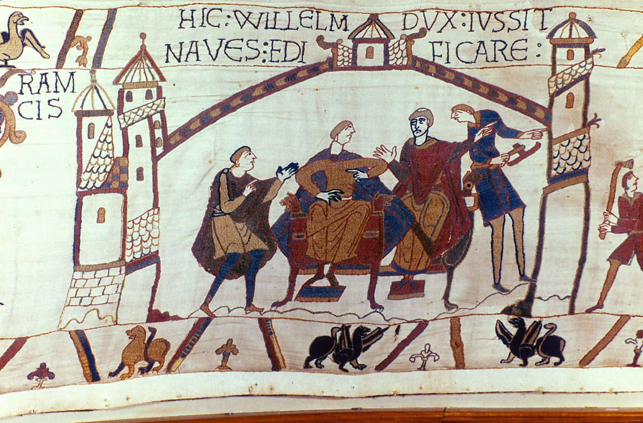 News of Harold's coronation travelling across the channel to William, Duke of Normandy.