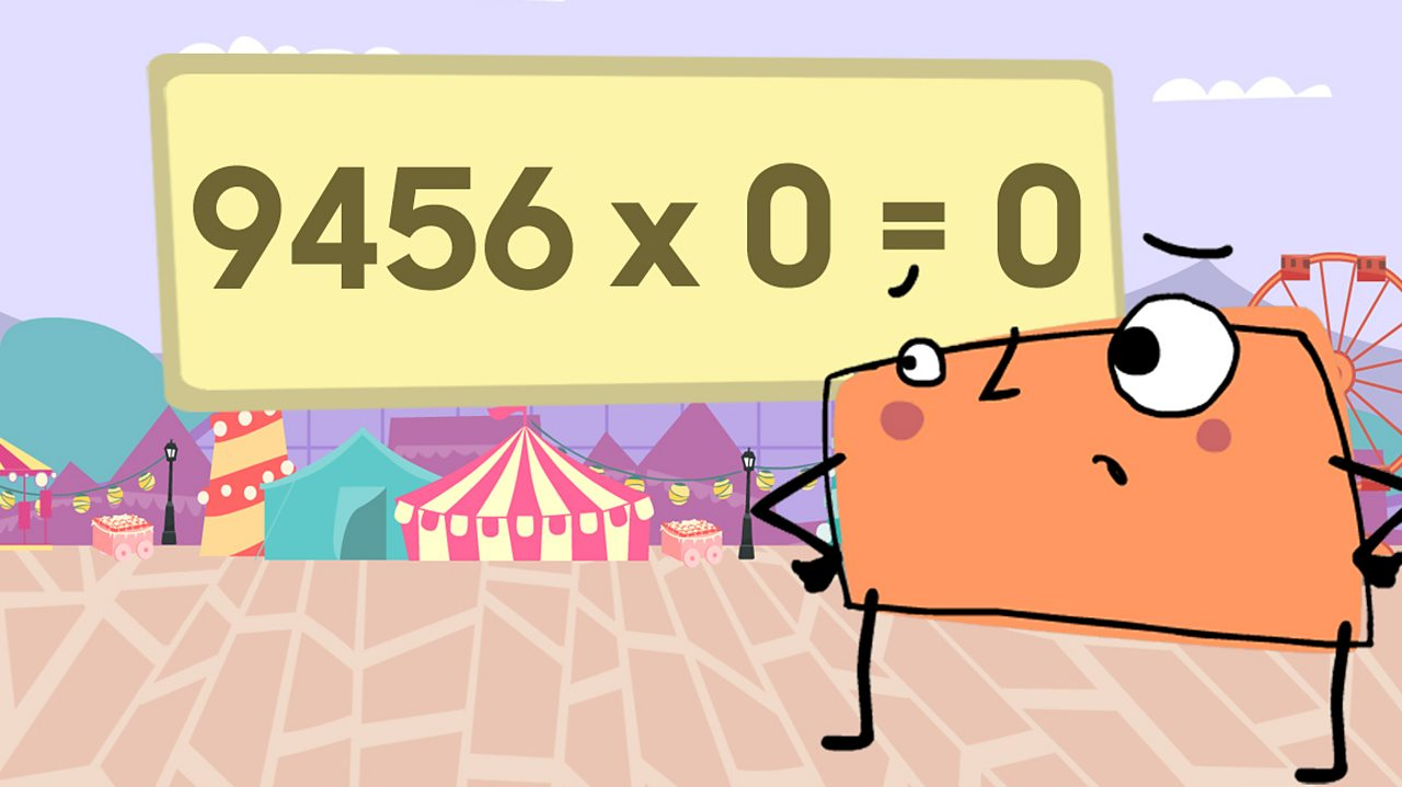 A rectangle character looking confused at the sum 9456 x 0 = 0