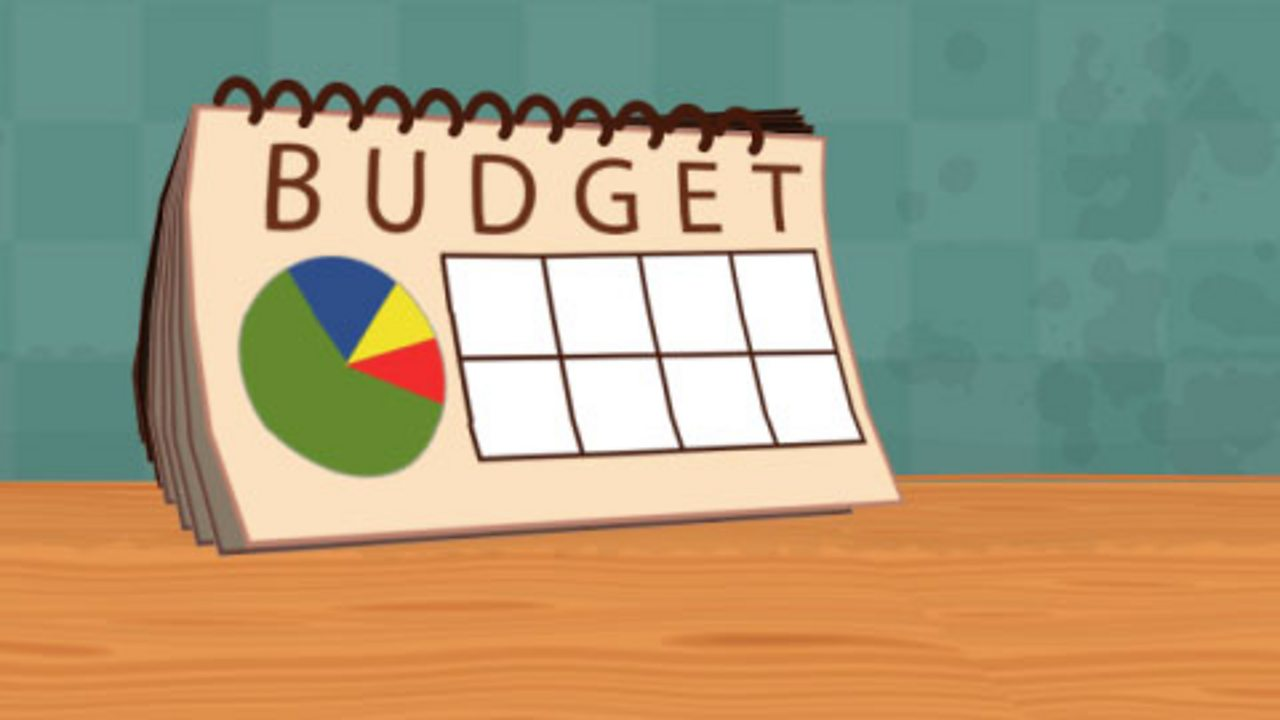 A budget with a pie chart