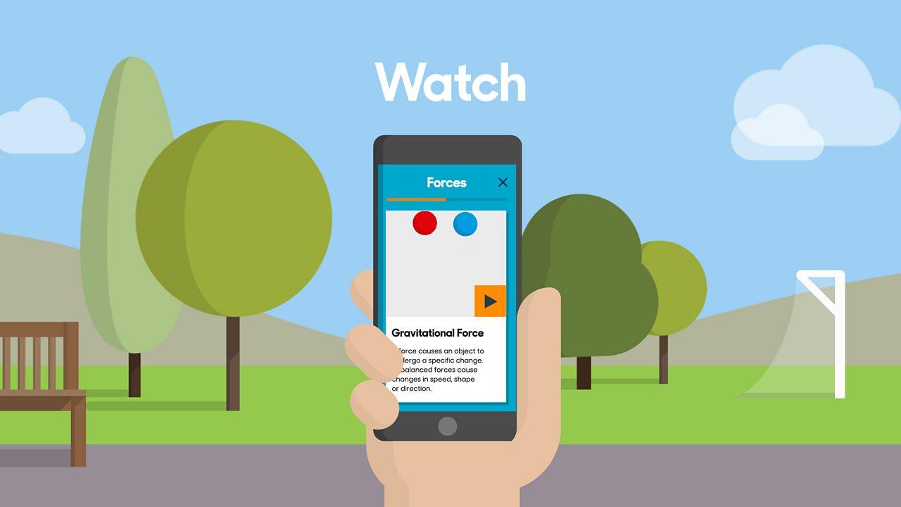 An animated image of the BBC Bitesize app on someone's phone