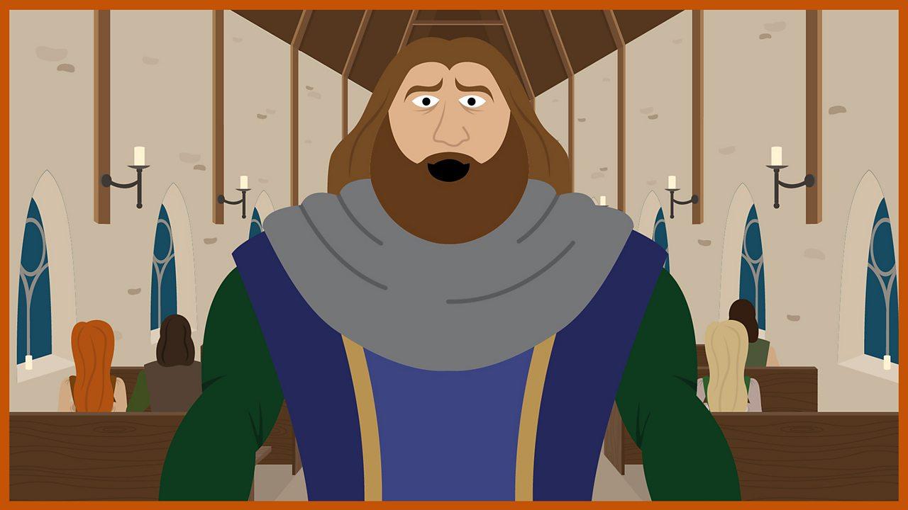 Sir Bercilak stands in a chapel.