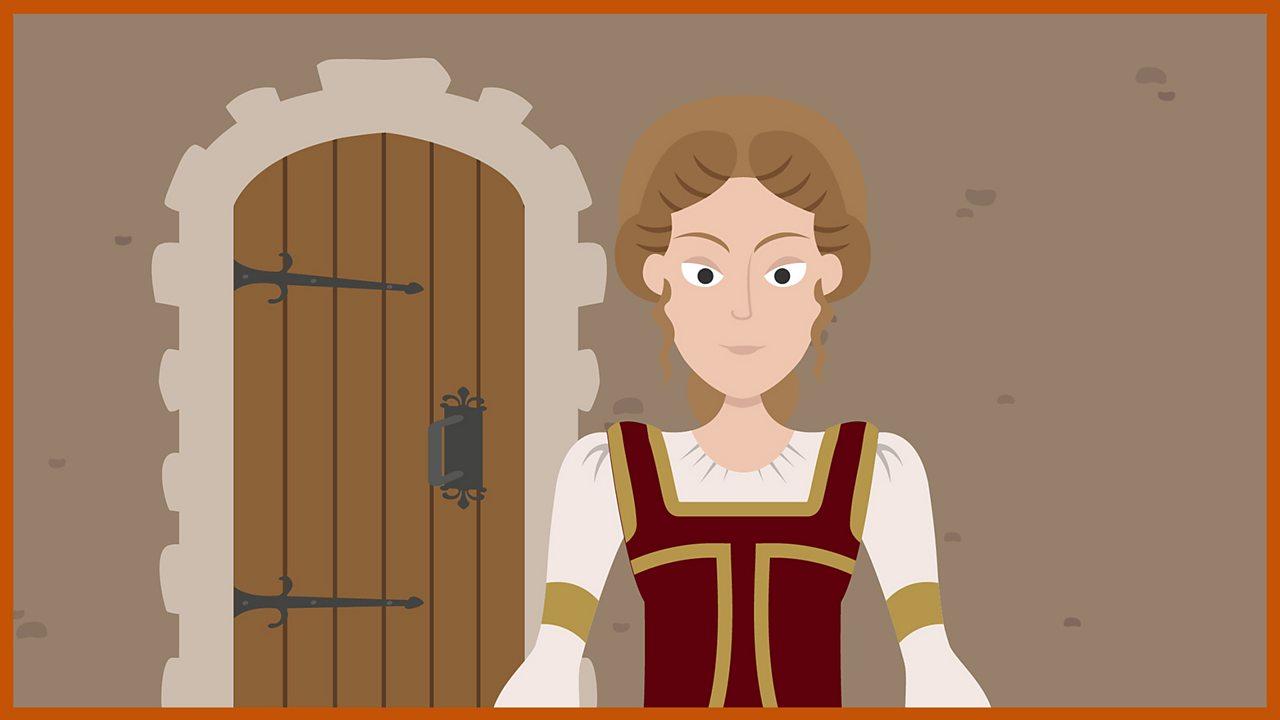 Lady Bercilak stands in front of a wooden door.