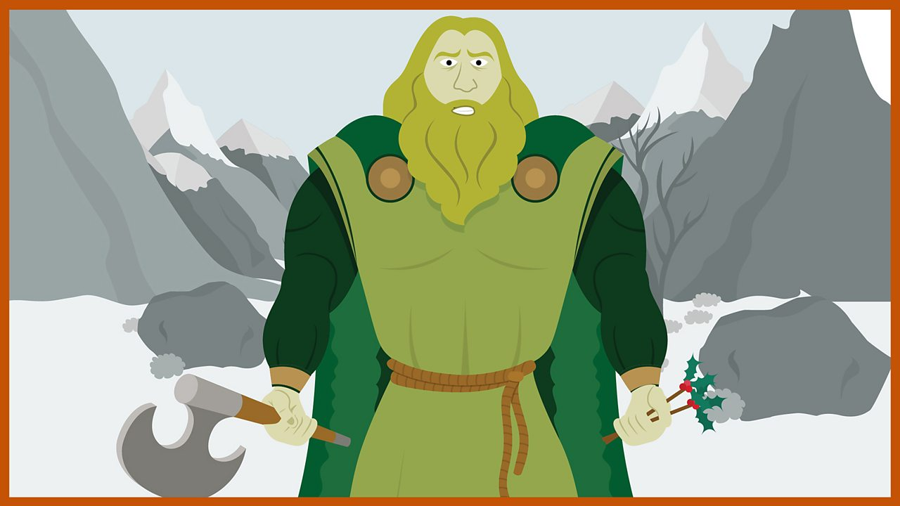 The Green Knight stands in front of snowy mountains.