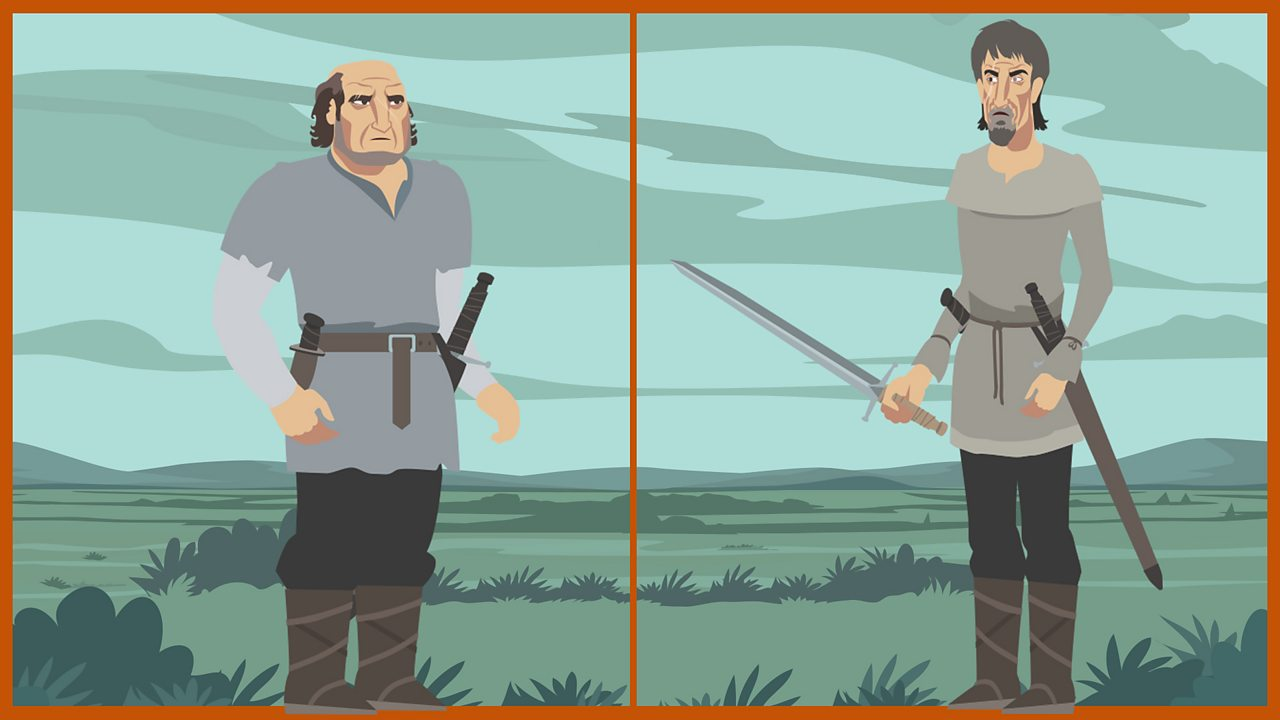 The two assassins: The two henchmen are engaged by Macbeth to kill Banquo and his young son, Fleance.