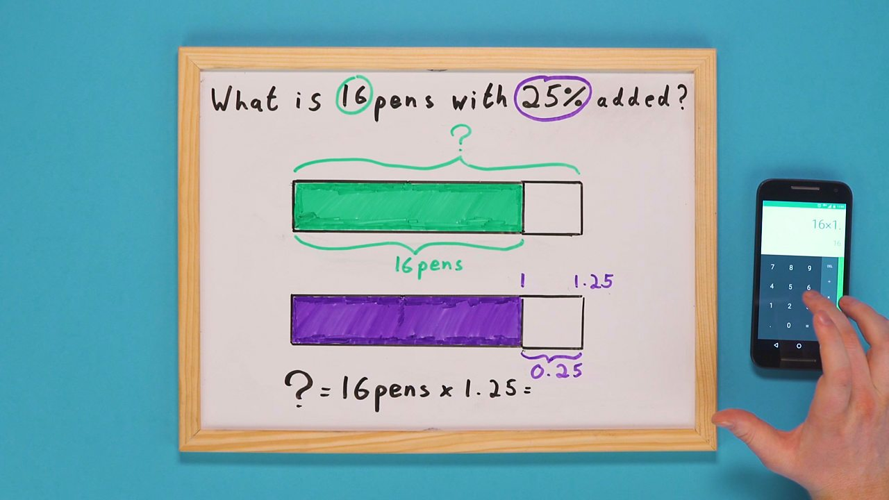 Whiteboard with two bars and calculator