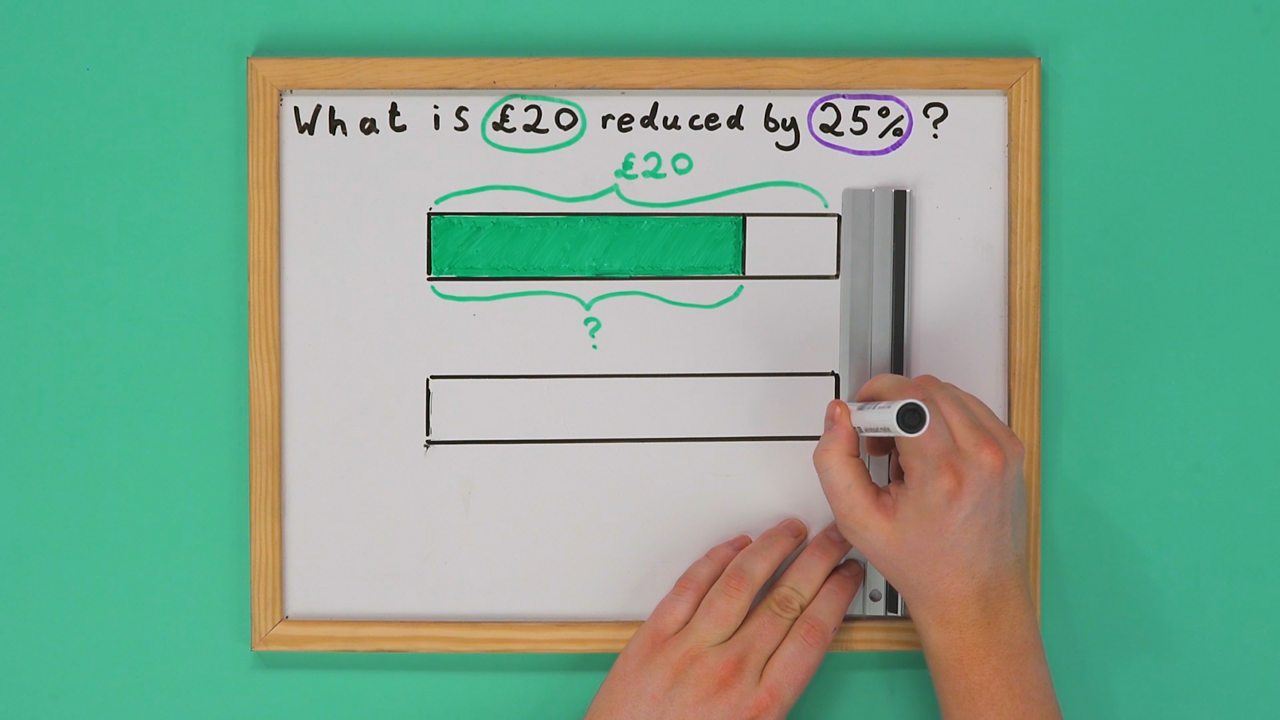Whiteboard with two bars drawn on it