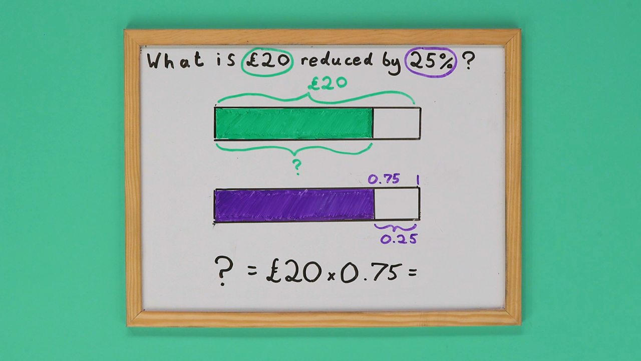 Whiteboard with two bars drawn on it and a maths sum underneath