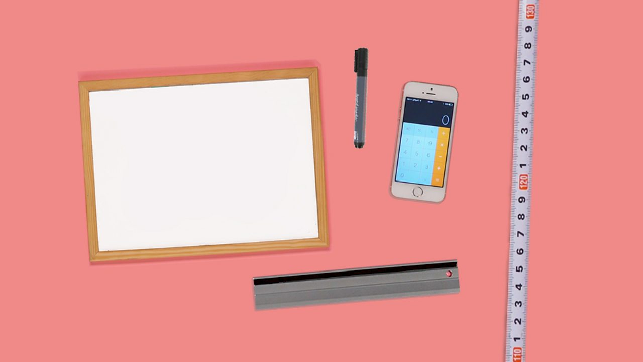 An image of a ruler, a pen, a calculator, a tape measure and a whiteboard.