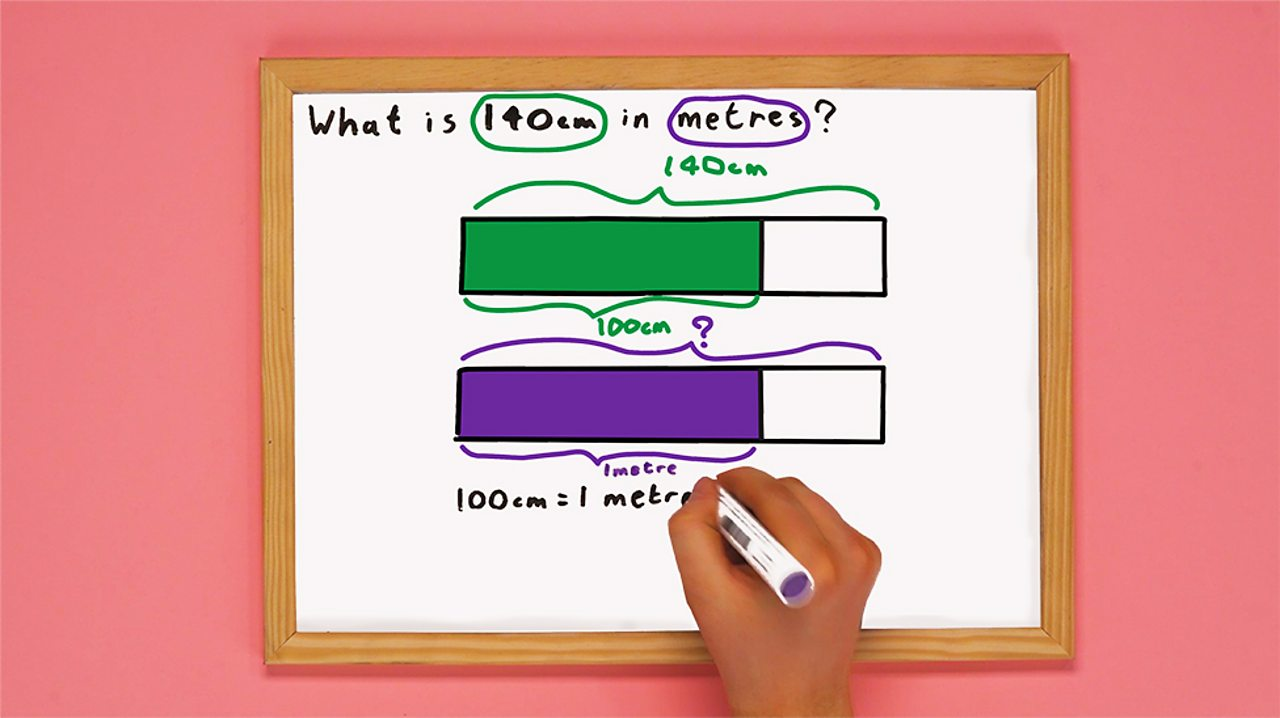 White board with two shaded bar models and the conversion