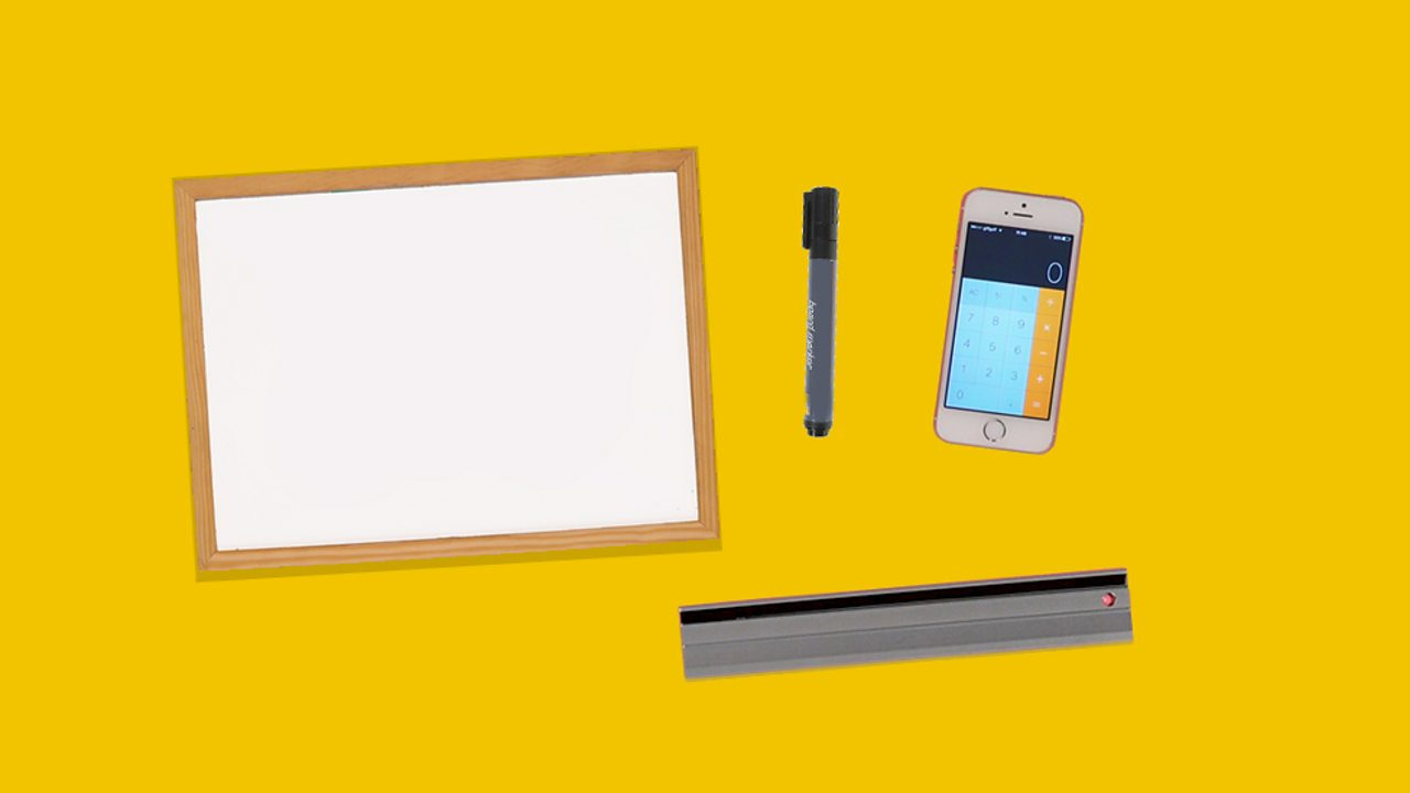 An image showing a whiteboard, a pen, a ruler and a calculator.