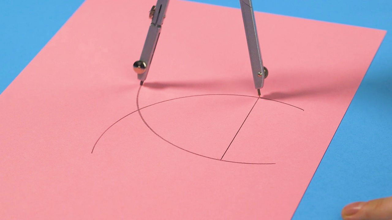 Two intersecting arcs with a line drawn in the middle of the two arcs underneath