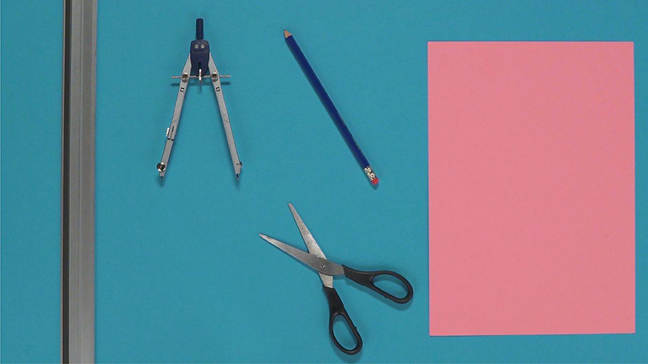 Ruler, paper, scissors, pencil, compass