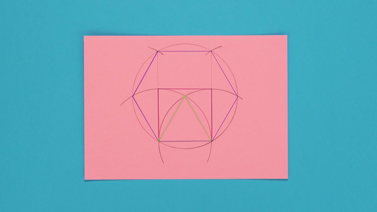 The final product of the hexagon with a square and triangle within it