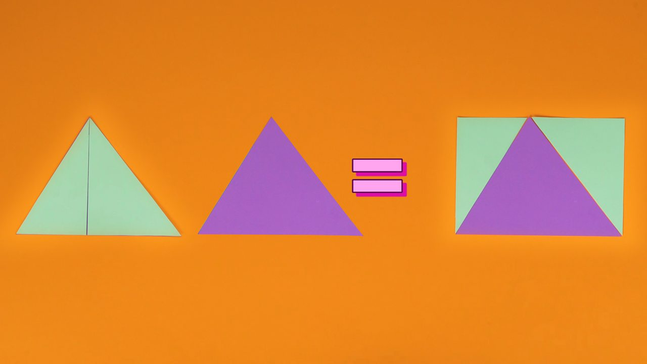 An image explaining how the area of two triangles is the same as one rectangle