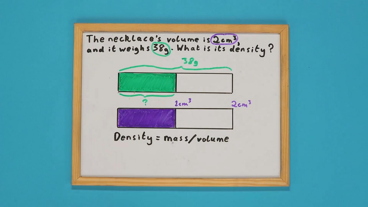A whiteboard with two shaded bars drawn on it
