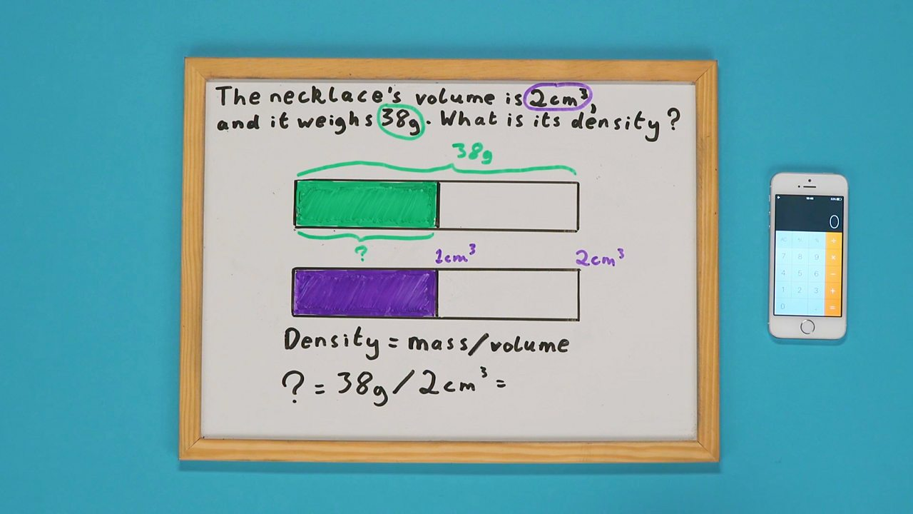 A whiteboard with two shaded bars drawn on it and a calculator on the side