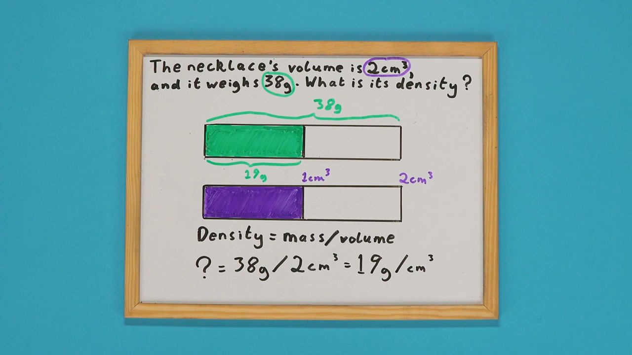 A whiteboard with two shaded bars drawn on it and a maths problem underneath it