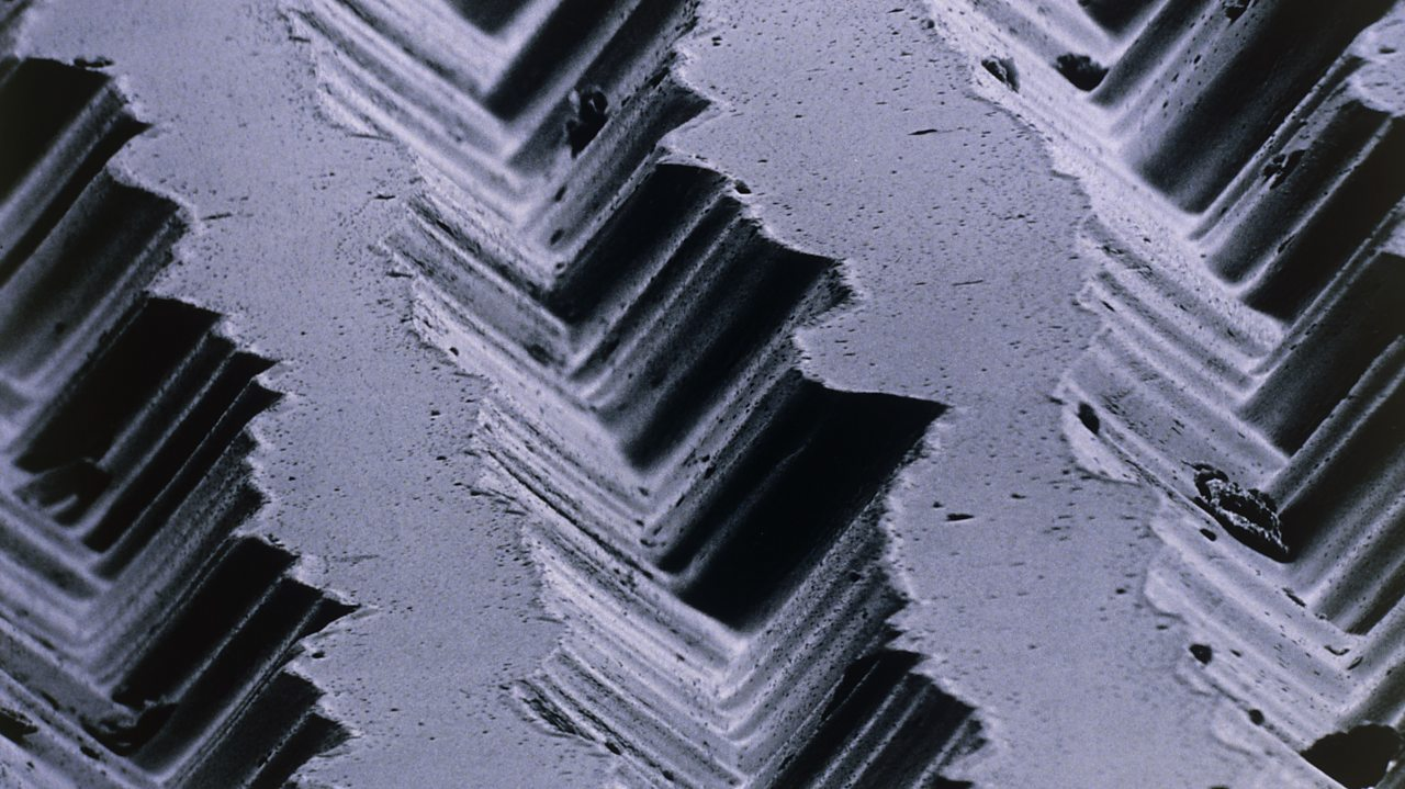 Record grooves when under the microscope