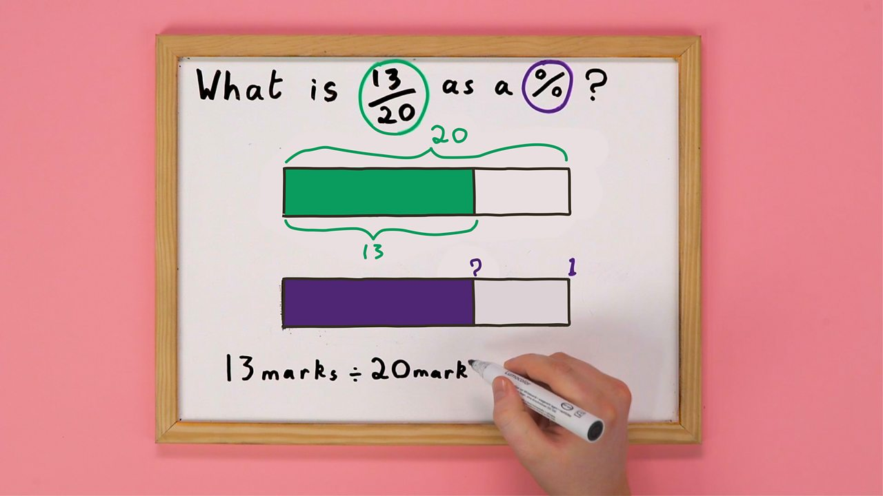 Someone writing a division maths problem on a whiteboard