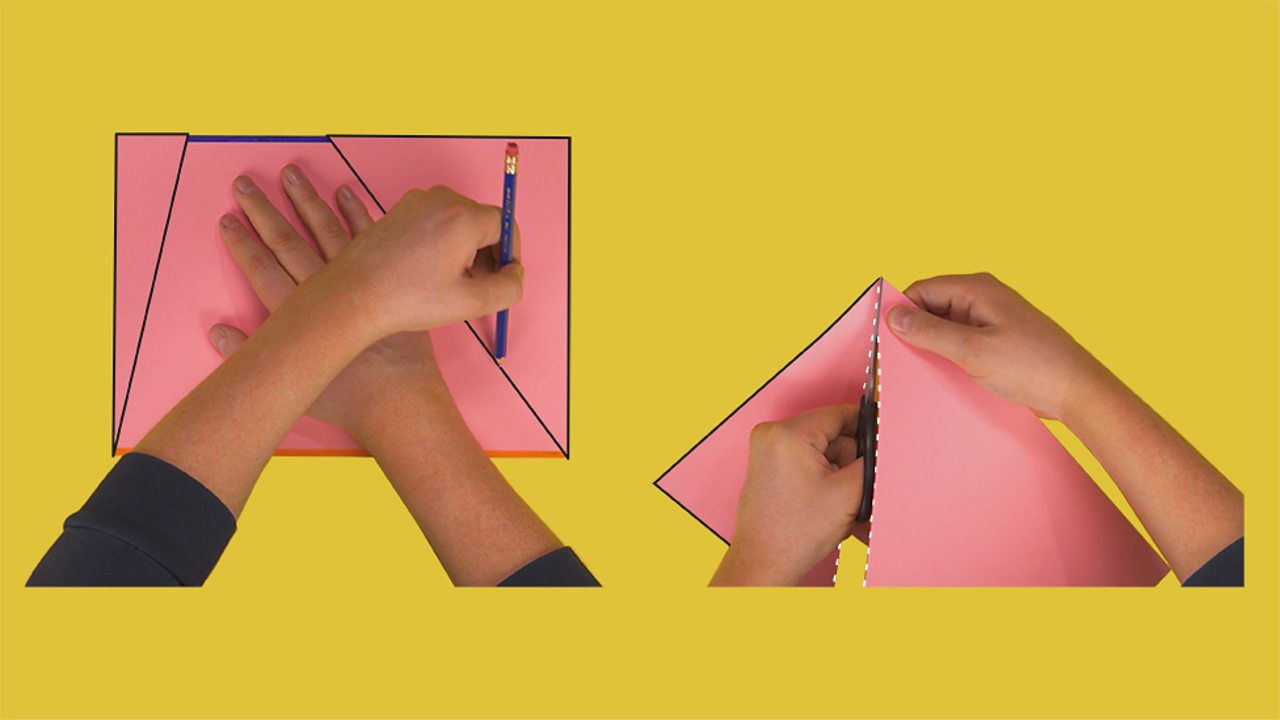 An image showing someone cutting along the edges of a trapezium