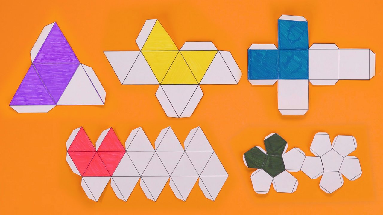 Nets for tetrahedron, cube, octahedron, dodecahedron and icosahedron, with coloured faces