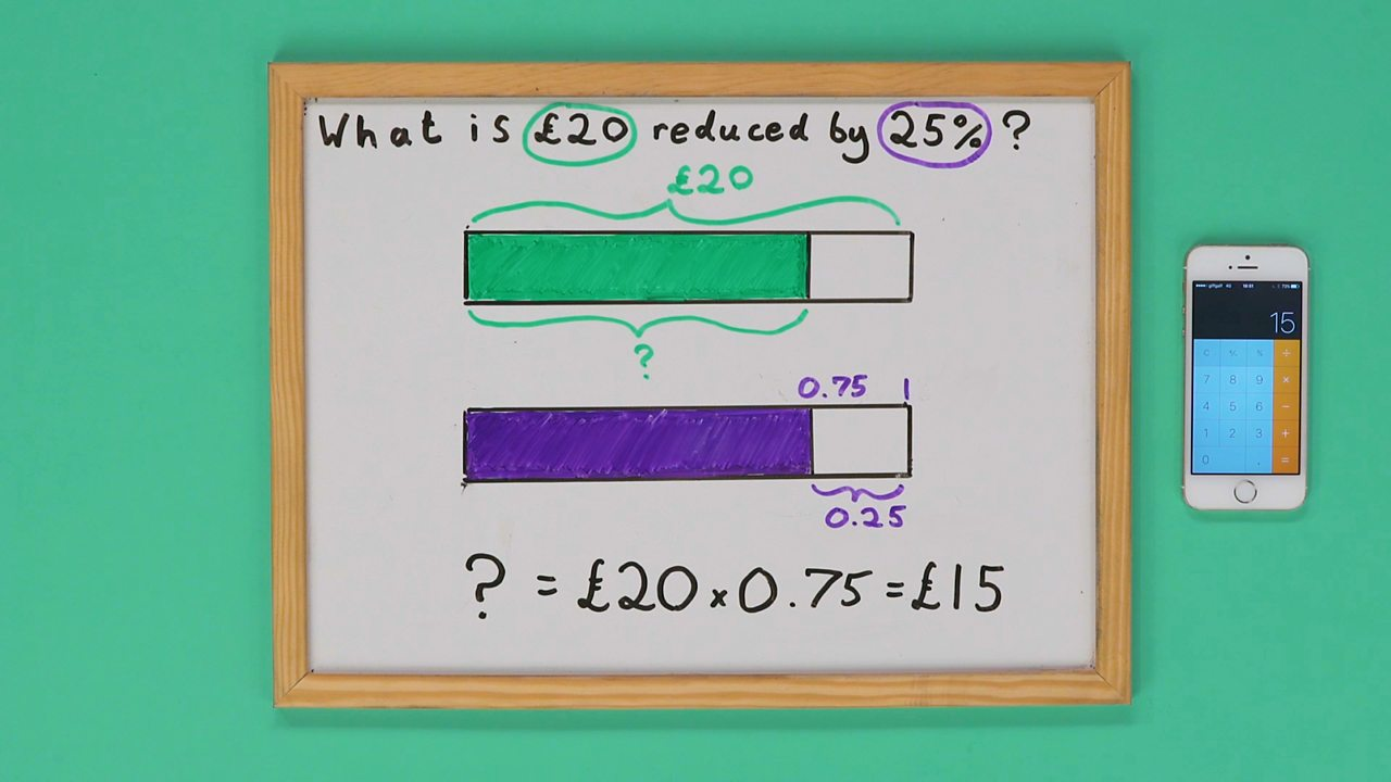 Whiteboard with calculations showing answer
