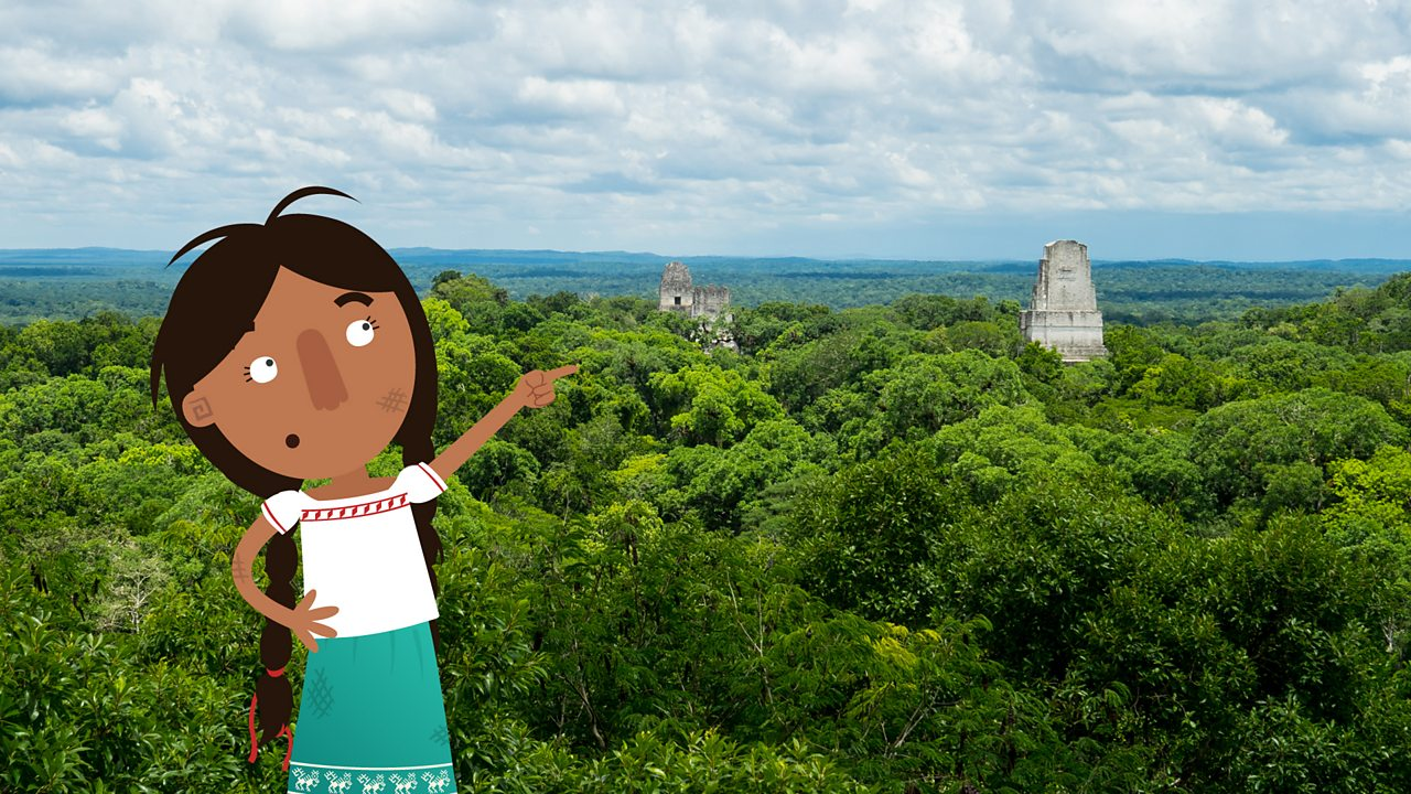 Jade pointing at the jungle surrounding the ancient city of Tikal.