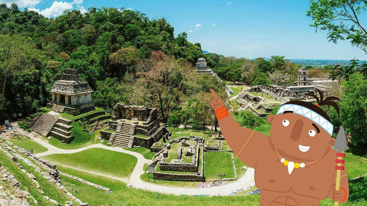 Modern day Palenque being pointed out by a Maya character