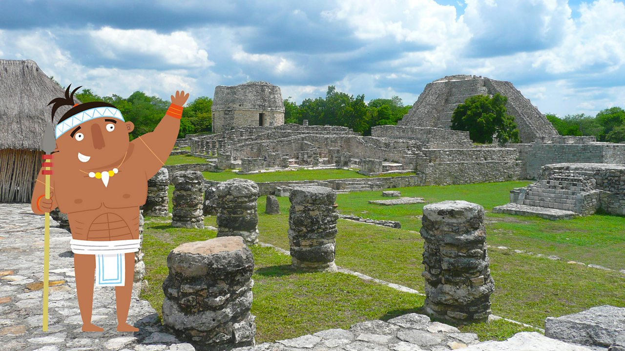 Maya character pointing out Modern day Mayapan