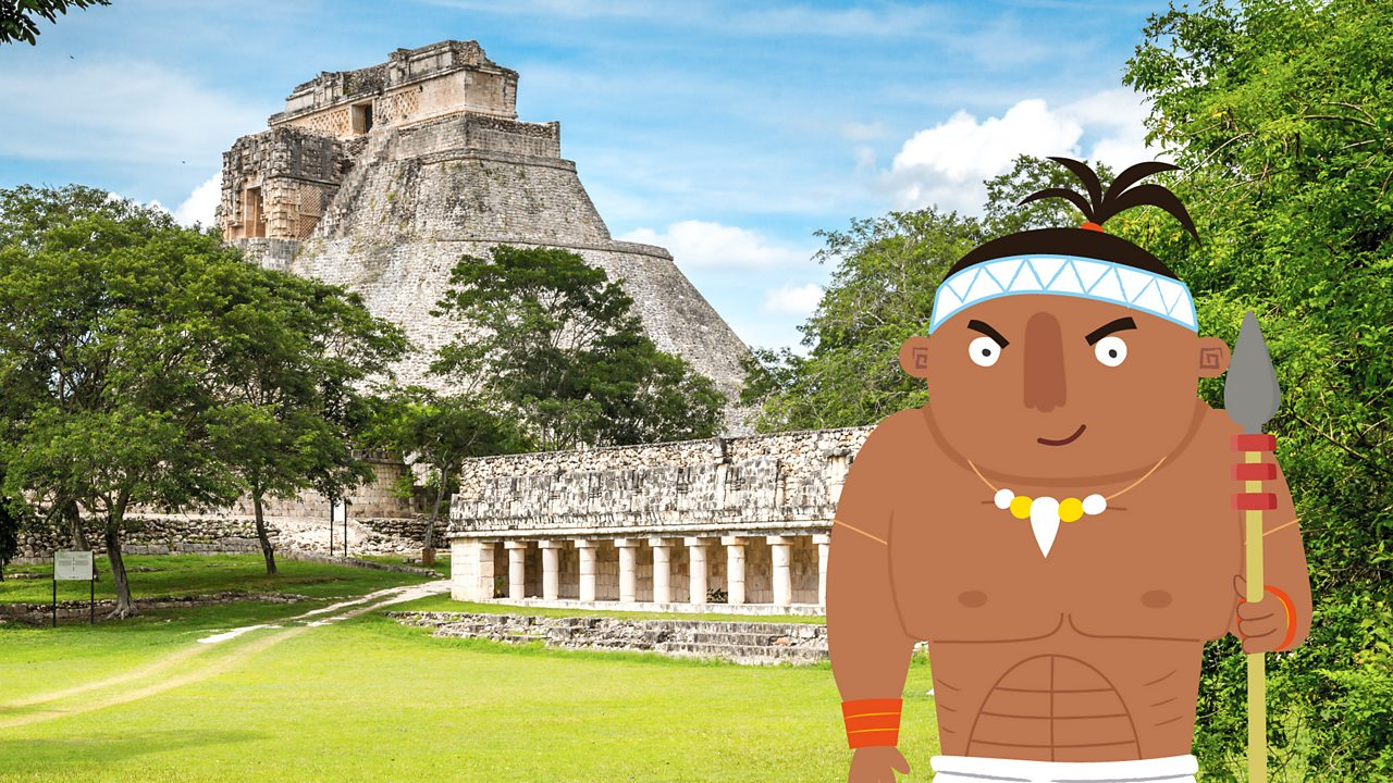 Maya person pointing out modern day Uxmal.