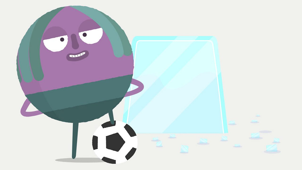 Circle character standing with a football beside a block of ice