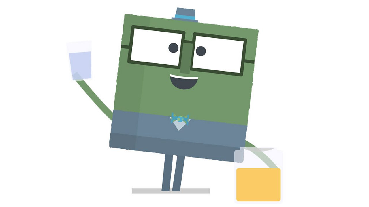Square character standing with a glass of water and jar of honey.