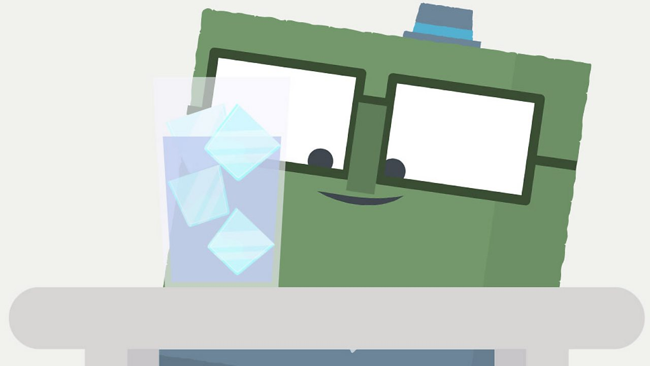 Square character looking at a glass of ice.