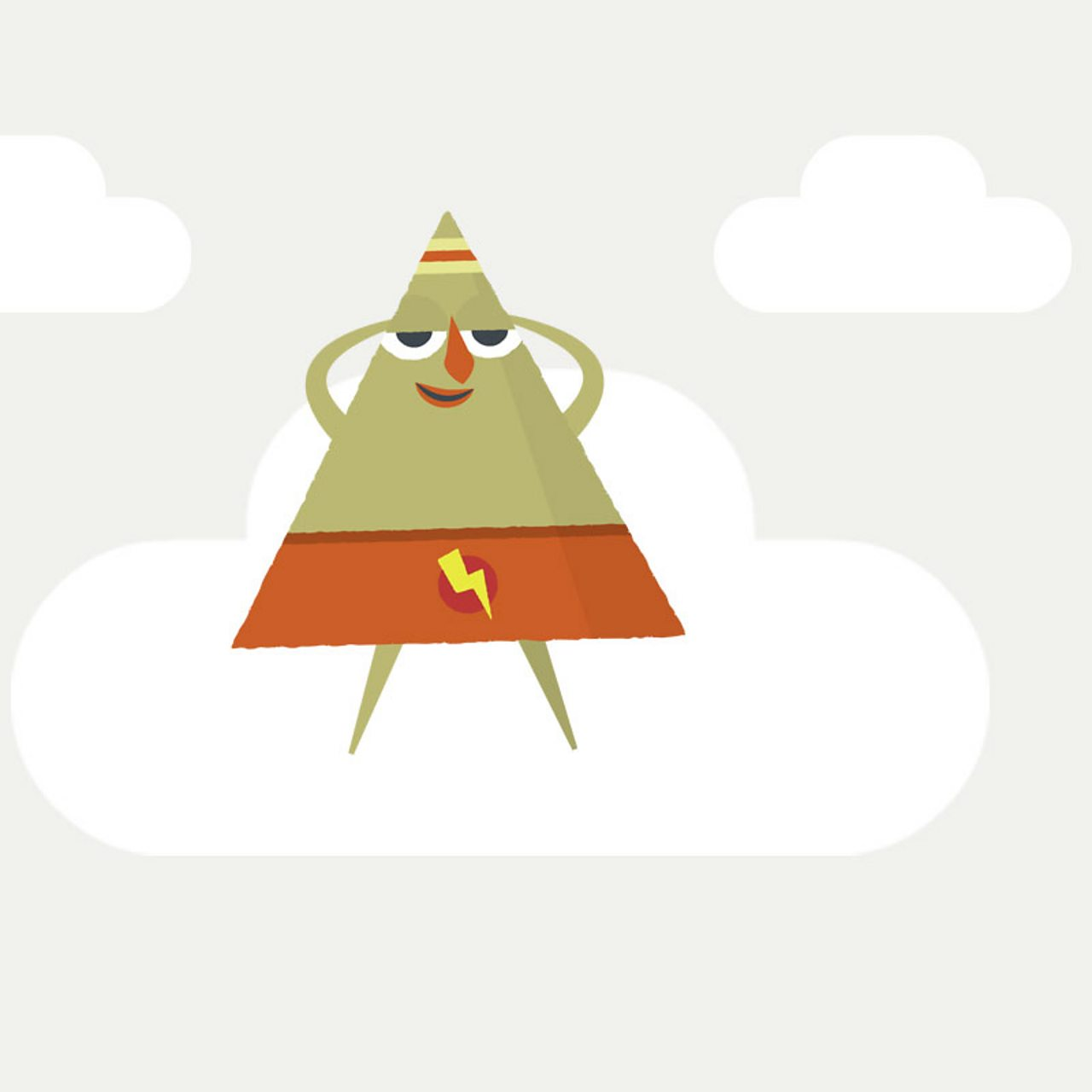 Triangle character floating on cloud