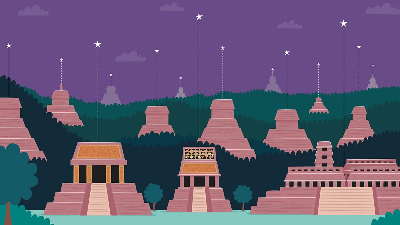 A Maya city built below stars