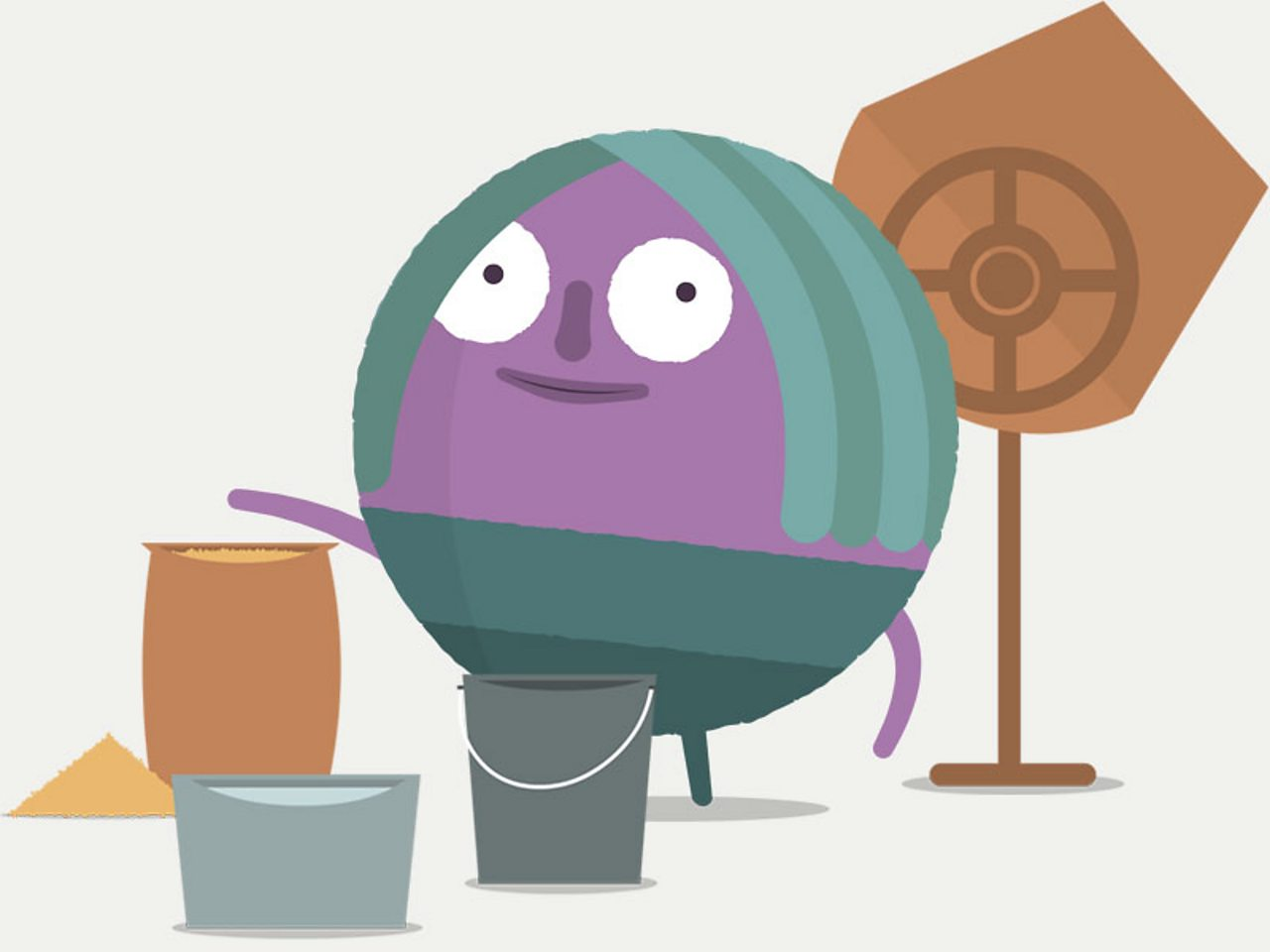 Circle character standing beside a cement mixer