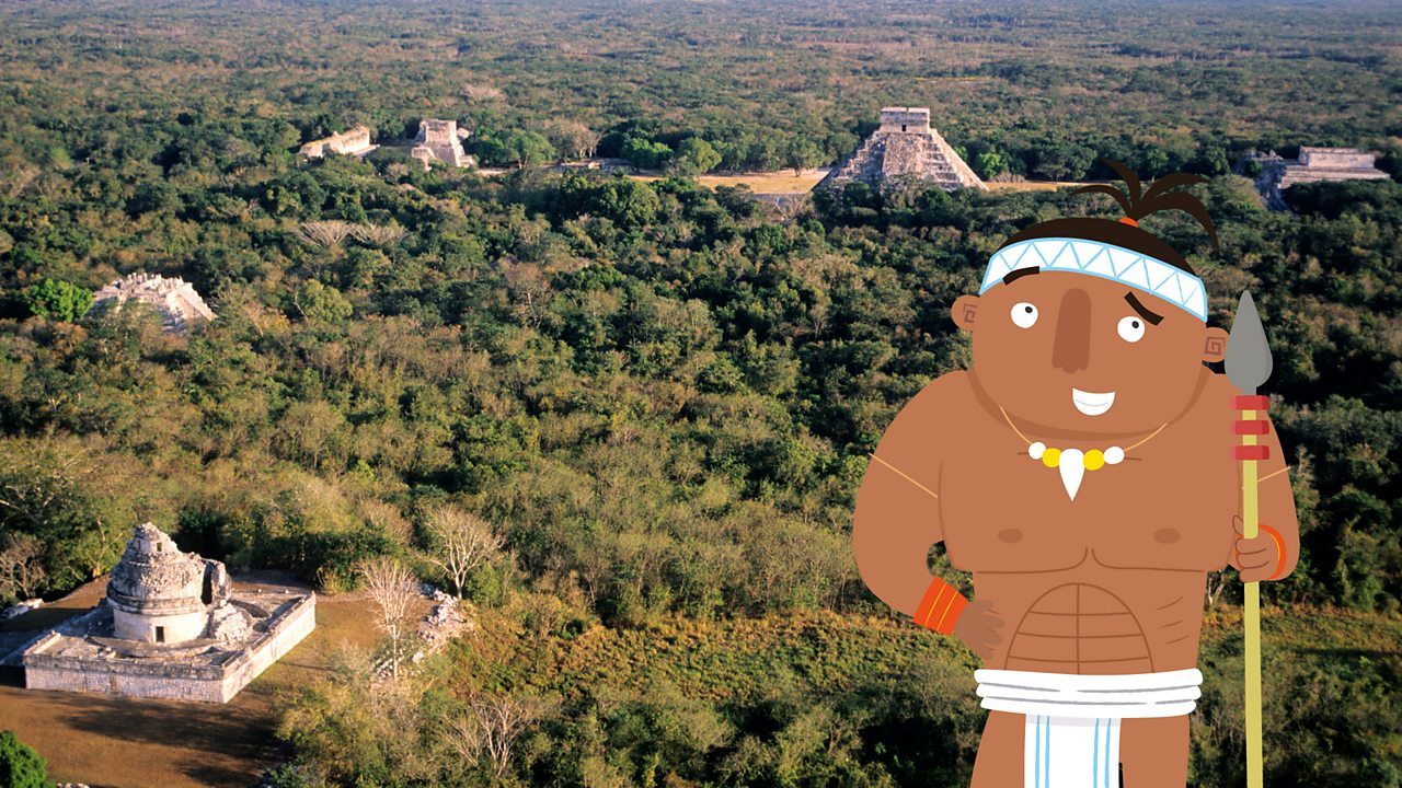 Chichen Itza being pointed out by a Maya warrior