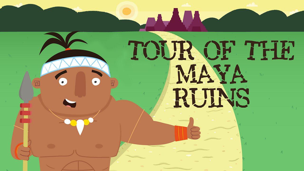 A Maya warrior next to a road