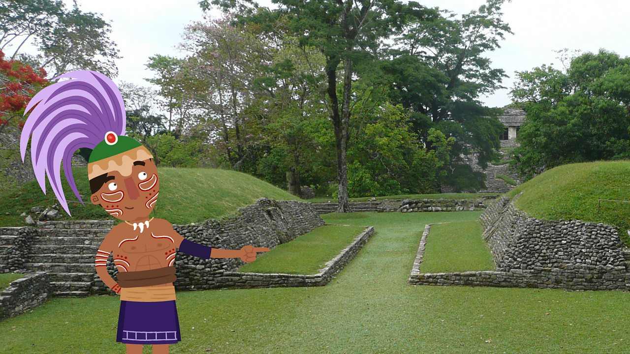 A cartoon figure of a Maya looking out onto a real photographic image of a Maya ball court in Palenque
