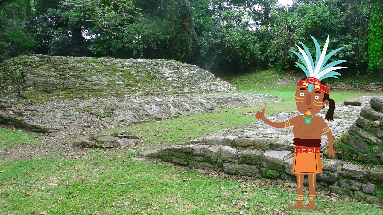 A cartoon figure of a Maya looking out on to a real photographic image of a Maya ball court in Yaxchilan