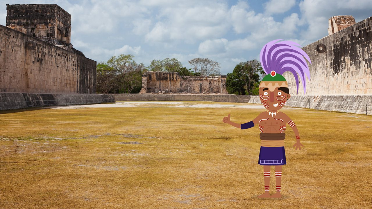 A cartoon figure of a Maya looking out on to a real photographic image of a Maya ball court in Chichen Itza