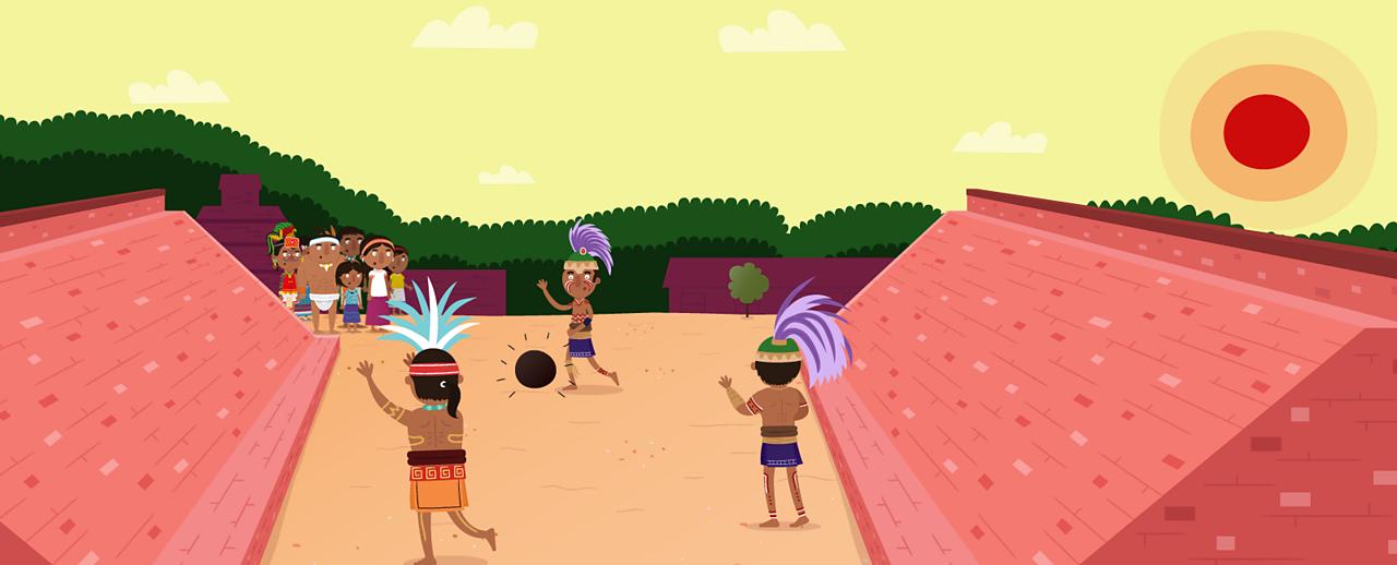 Maya players playing the ball game.