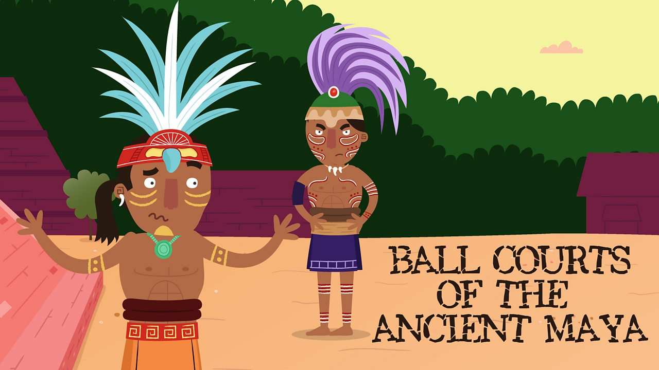 Two Maya ball players having an argument on a ball court