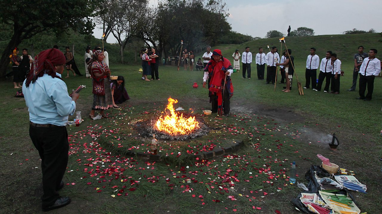 A spiritual ceremony lead by a Maya elder