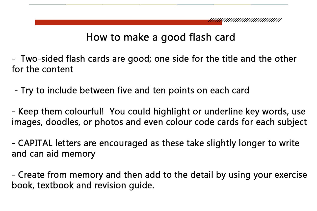 An image which explains how to make a good flash card